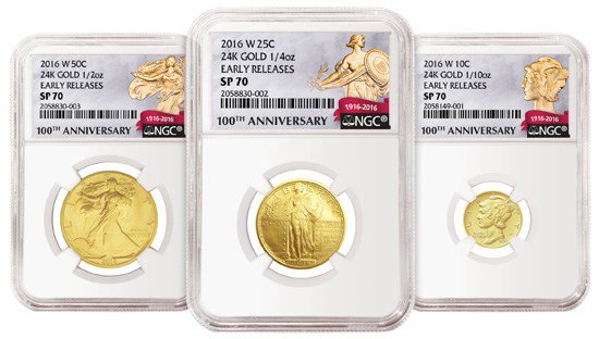 NGC Centennial Labels for 2016 Mercury dime, Standing Liberty quarter and Walking Liberty half dollar gold coins. Image courtesy NGC