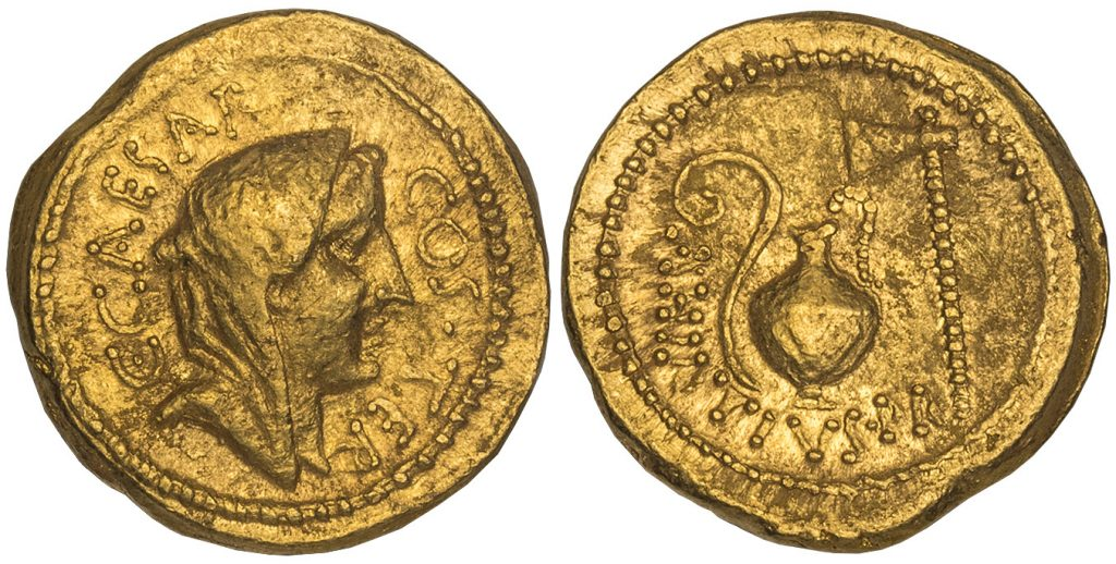 Roman Imperial. Julius Caesar. (Dictator, d. 44 BCEE. AV Aureus. Images courtesy Atlas Numismatics