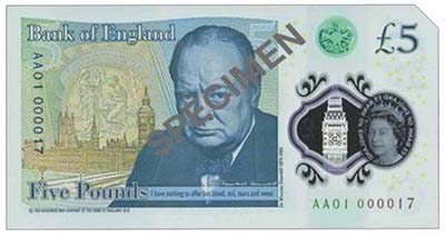 New £5 ND (2016) featuring Sir Winston Churchill with lowest serial number AA01 000017. Image courtesy Spink Auctions