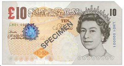 Bank of England, Victoria Cleland, £10, ND (2014), serial number LH01 000001. Image courtesy Spink Auctions