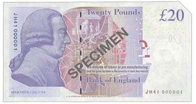Bank of England, Victoria Cleland, £20, ND (2014), serial number JH41 000001. Image courtesy Spink Auctions