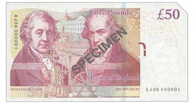 Bank of England, Victoria Cleland, £50, ND (2014), serial number AJ36 000001. Image courtesy Spink Auctions