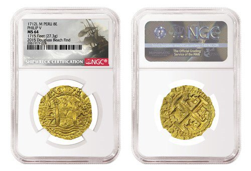 1715 Plate Fleet shipwreck gold coin image gallery. Image courtesy NGC