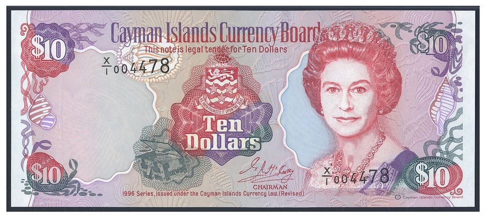 1996 Cayman Islands 10 dollar note. Image courtesy Daniel Frank Sedwick LLC