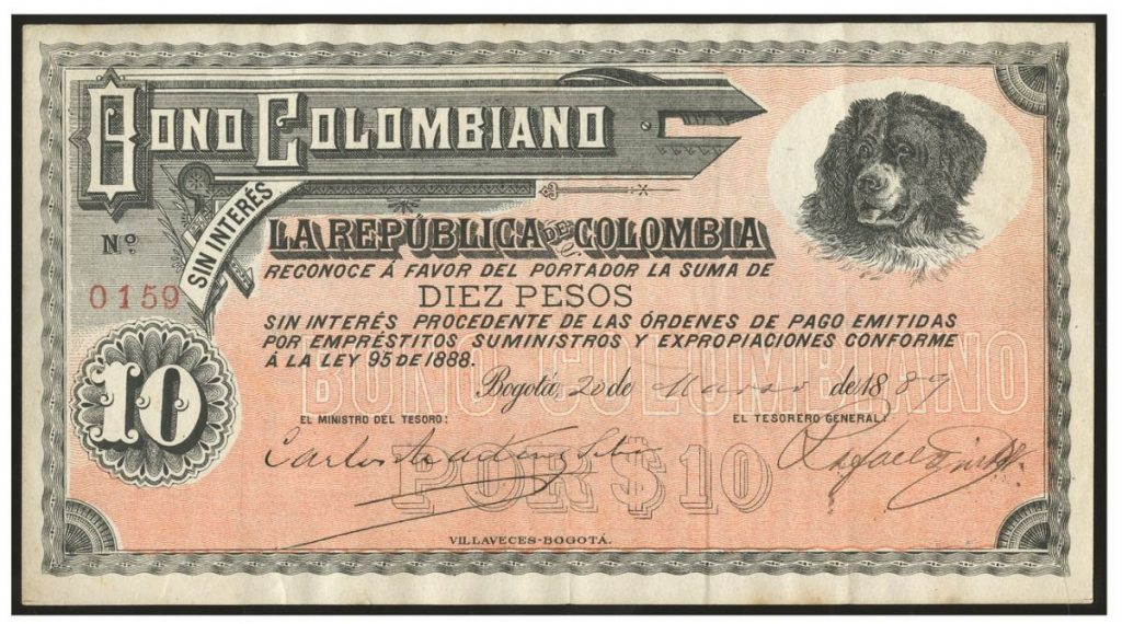1889 10 pesos Colombian Bond with dog. Image courtesy Daniel Frank Sedwick LLC