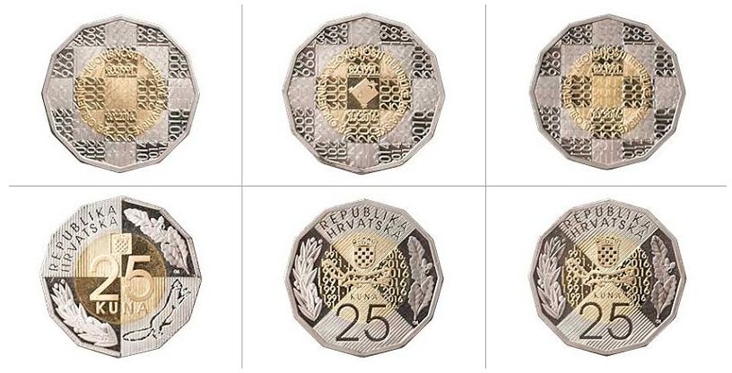 The three designs which were up for voting for the new 25 kuna coin (photo: HNB)