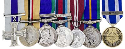 Cpl. Mark Ward medals and military cross. Images courtesy Spink Auctions