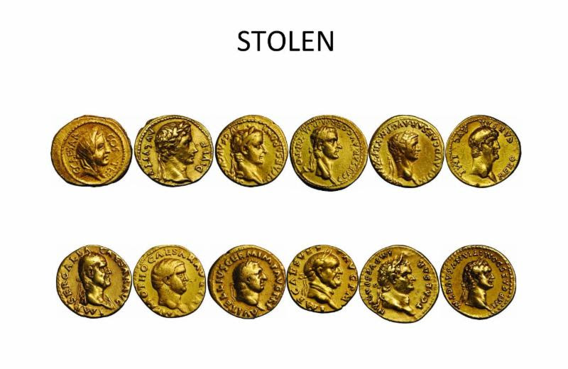 12 Caesar ancient Roman gold coins in VF+ condition. Image courtesy NCIC