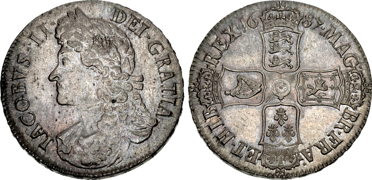 GREAT BRITAIN. England. James II. (King, 1685-88). 1687 AR Crown. Images courtesy Atlas Numismatics