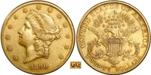Sedwick Treasure Auction - 1890-CC Coronet Head double eagle. Images courtesy Daniel Frank Sedwick, LLC