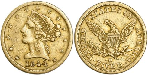 1844-D Coronet Head double eagle. Images courtesy Daniel Frank Sedwick, LLC
