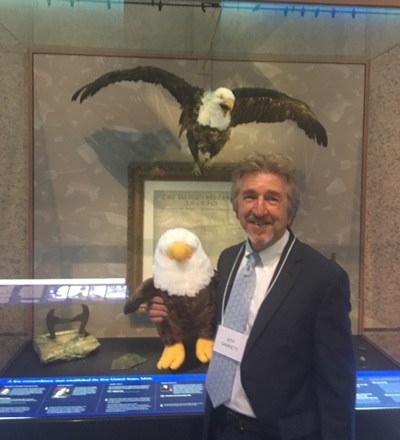 Jeff Garrett at the United States Mint. The photobomber in the background is Peter the Eagle