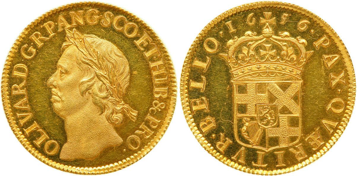 Oliver Cromwell gold pound. Images courtesy SAFE Collecting Supplies