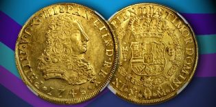 Stack's Bowers: Choice Mint State Mexican 8 Escudos of Philip V