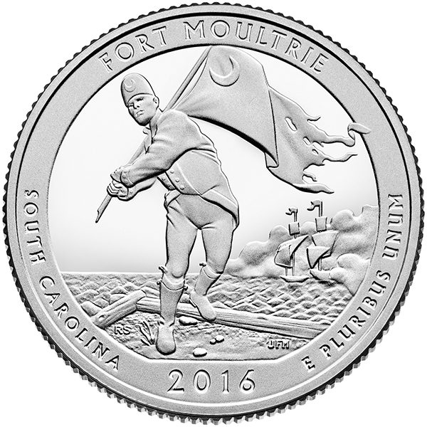 Reverse, United States 2016 America the Beautiful - Fort Moultrie at Fort Sumter National Monument Quarter. Image courtesy U.S. Mint