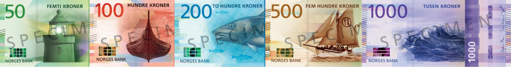 front, Norway 2016 series banknotes. Images courtesy Norges Bank