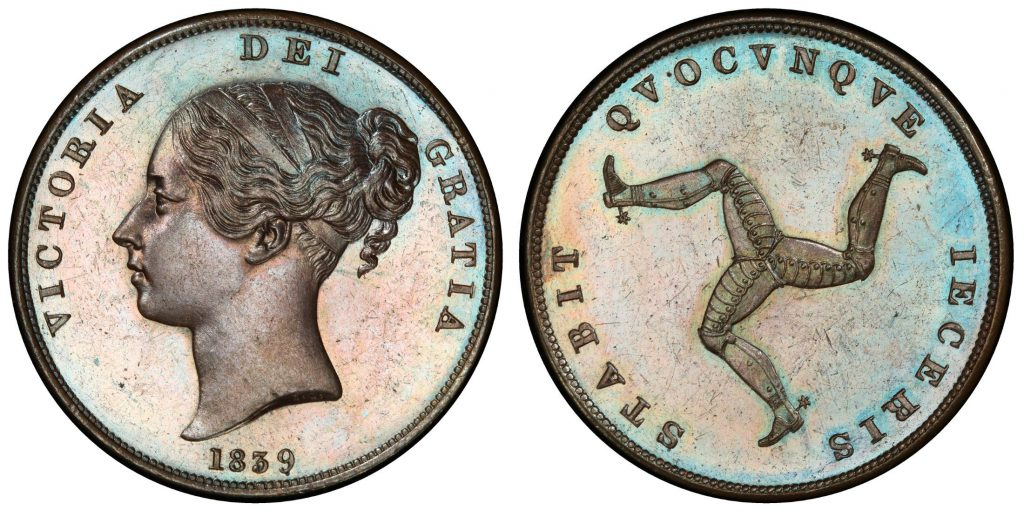 ISLE OF MAN. 1839 CU Penny. Images courtesy Atlas Numismatics