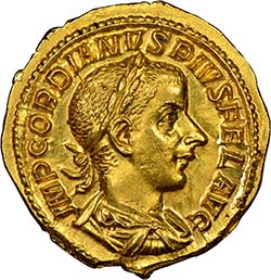 Gold Gordian III AV aureus. Image courtesy Spink USA