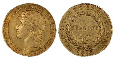 1810 40 Franchi, Italian gold coin. Image courtesy Spink USA
