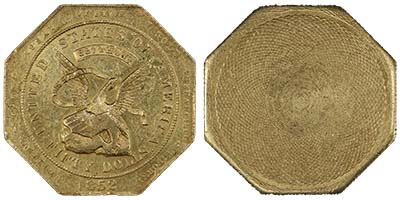 Territorial California Gold 1852 $50 Augustus Humbert. Image courtesy Spink USA