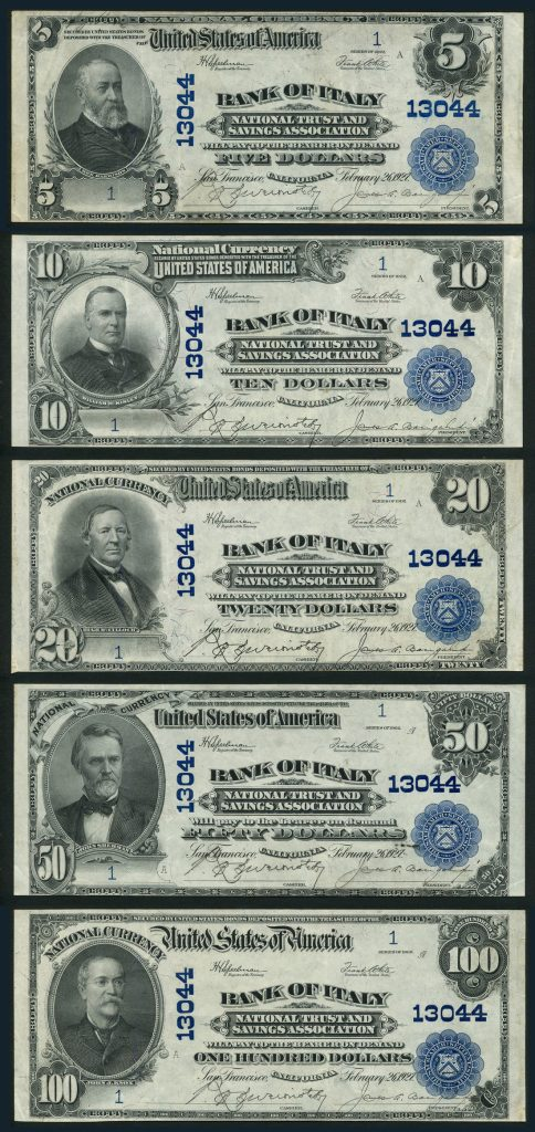 Bank of Italy, National Trust and Savings Association, United States of America, National Currency. Images courtesy Spink and Son