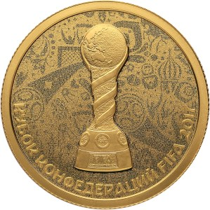 reverse, 50 ruble gold 2017 FIFA Confederations Cup commemorative coin. Image courtesy Bank of Russia