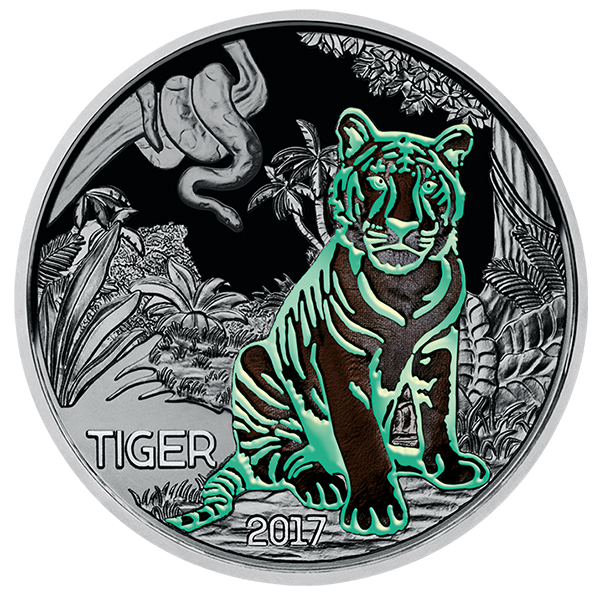 Glow-in-the-dark elements, Austria 2017 Colorful Creatures: The Tiger 3 Euro Glow-in-the-Dark Coin. Image courtesy Austrian Mint