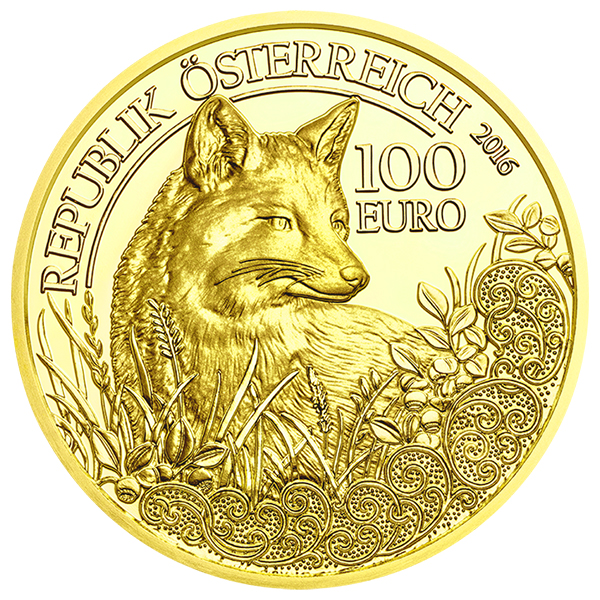 Austria 2016 Wildlife in Our Sights: The Fox 100 Euro Gold Coin. image courtesy Austrian Mint