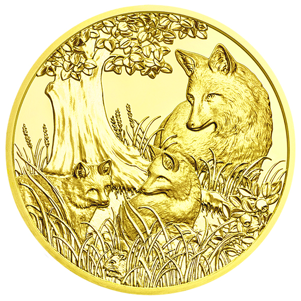 Reverse, Austria 2016 Wildlife in Our Sights: The Fox 100 Euro Gold Coin. image courtesy Austrian Mint