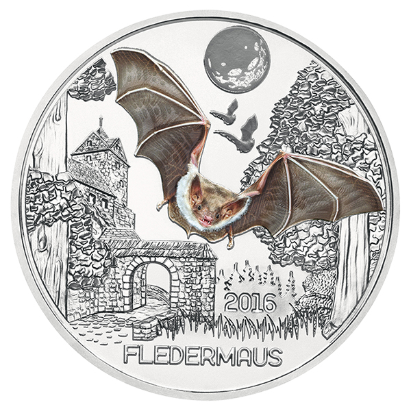 Austria 2016 Colorful Creatures: The Bat 3 EuroGlow-in-the-Dark Coin. Image courtesy Austrian Mint
