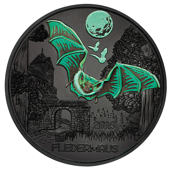 Glow-in-the-Dark elements on the obverse of the 2016 Colorful Creatures: The Bat 3 Euro Glow-in-the-Dark Coin. Image courtesy Austrian Mint