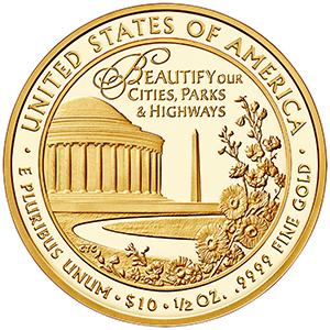 Reverse, United States 2015 Lady Bird Johnson $10 First Spouse Gold Coin