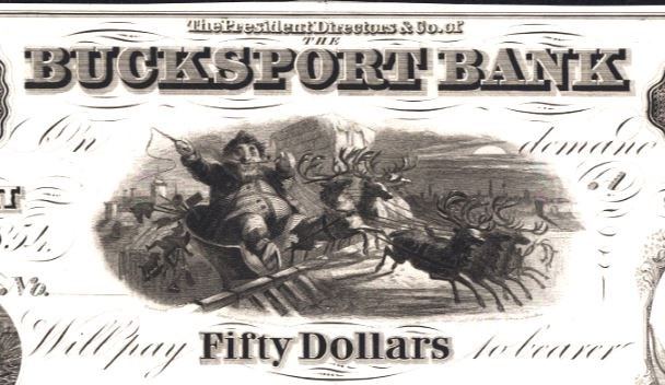 Santa Claus on front of Bucksport Bank $50. Image courtesy NGC