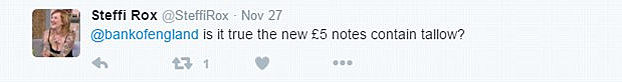 Tweet November 27 regarding animal fat used to produce the new UK five pound polymer note