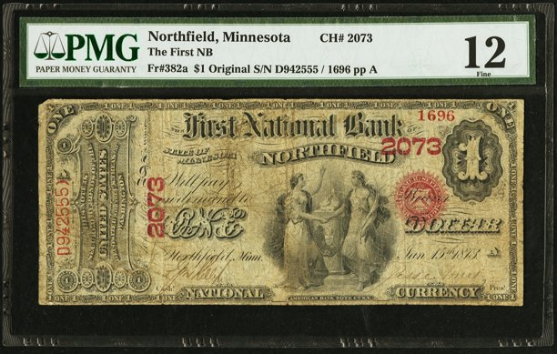 Front, First National Bank of Northfield $1 Note. Image courtesy Heritage Auctions, PMG