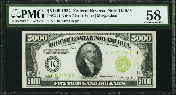 Front, $5,000 Federal Reserve Note. Image courtesy Heritage Auctions, PMG