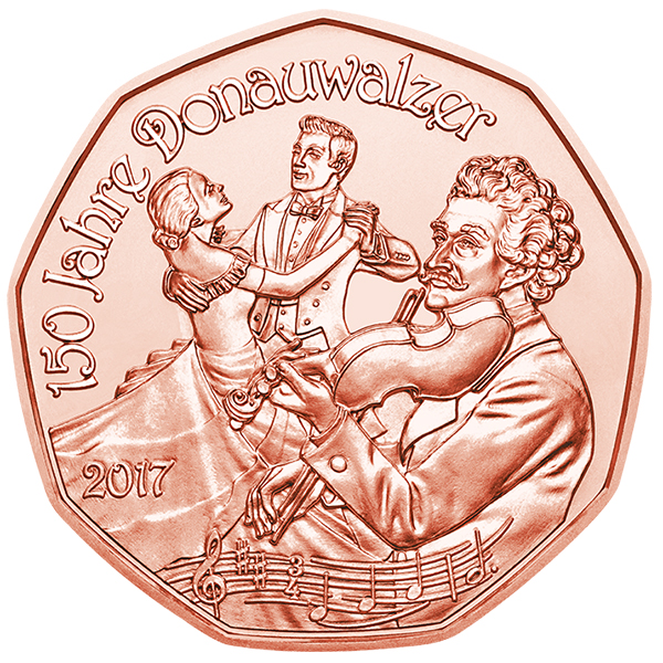 Reverse, Austria 2017 New Year: Waltzing in the New Year 2017 5 Euro Copper Coin. Image courtesy Austrian Mint