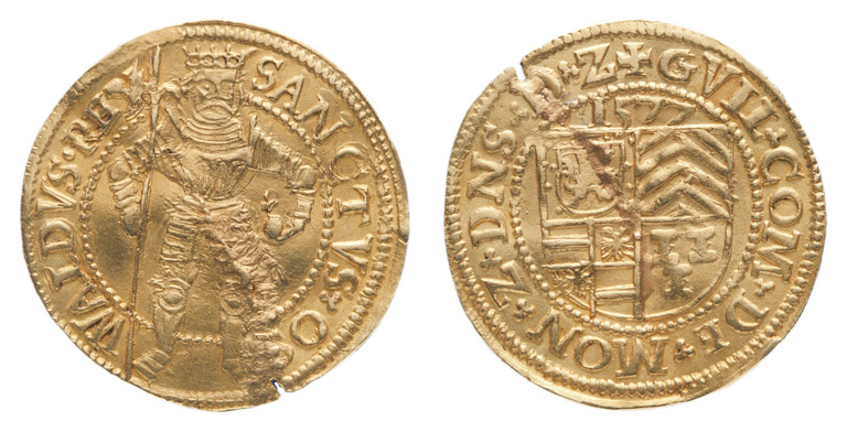 Gold ducats with Saints: the 's-Heerenberg ducat with St. Oswaldus. Images courtesy Teylers Museum
