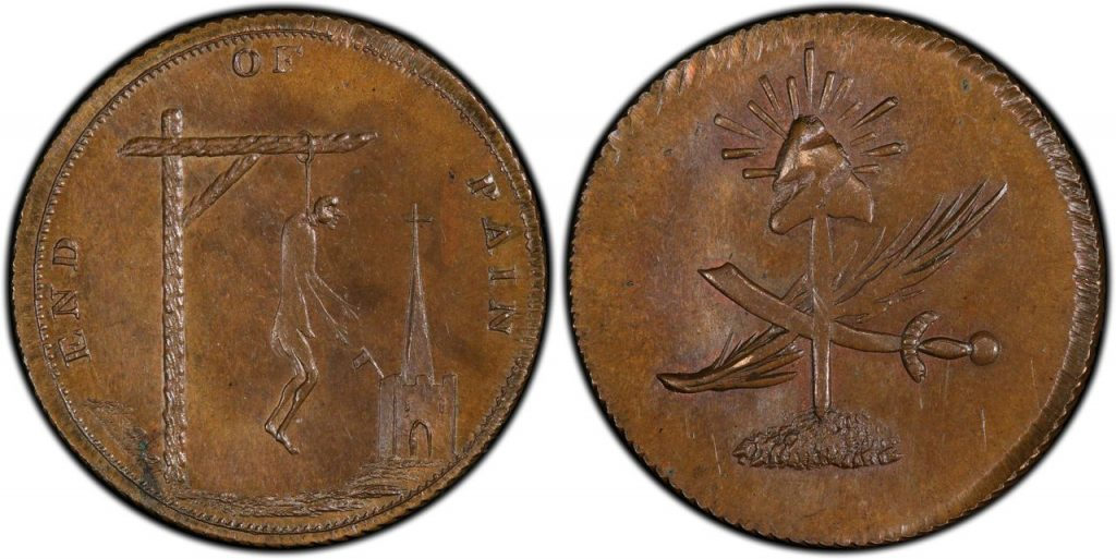 """GREAT BRITAIN. Middlesex. """"End of pain"""" token.18th Century (ND) CU Farthing Mule. Images courtesy Atlas Numismatics"""