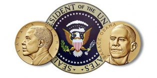 President Obama Receives Bronze Medals Emblematic of Each Term in Office