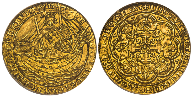GREAT BRITAIN. England. Edward III. (King, 1327-1377). 1354-55 (ND)-(Cross 2) Noble. Images courtesy Atlas Numismatics