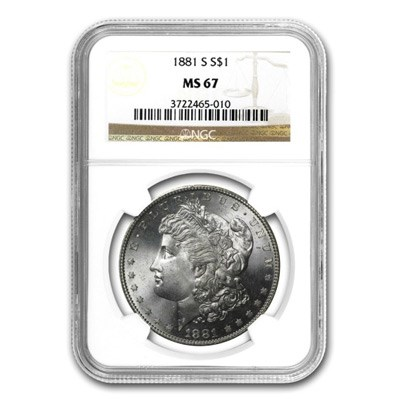 1881-S Morgan Silver Dollar NGC MS 67. Image courtesy NGC