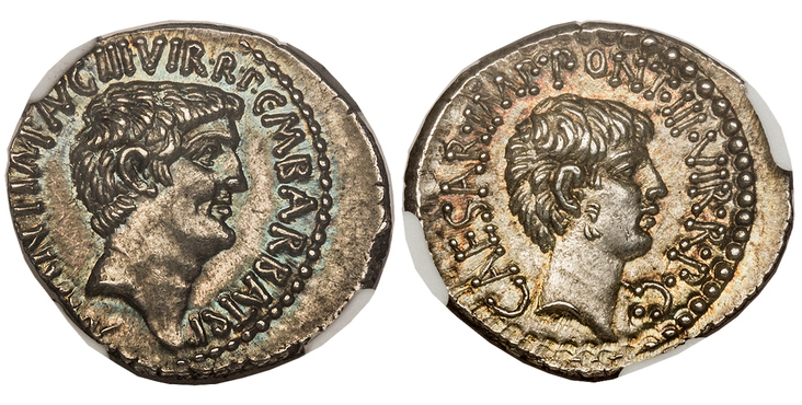 ROMAN IMPERATORIAL. Marc Antony and Octavian. (Triumvirs, 43-33 BC). Struck 41 BC. AR Denarius. Images courtesy Atlas Numismatics