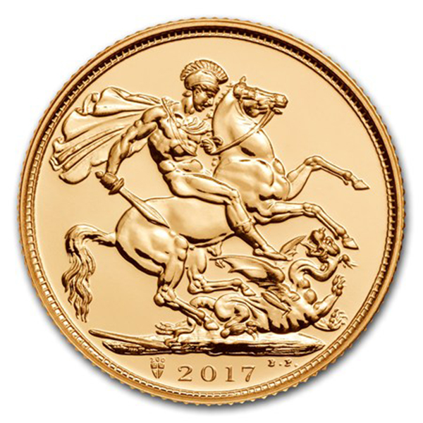 Reverse, United Kingdom 2017 Sovereign 200th Anniversary gold bullion coin. Image courtesy APMEX
