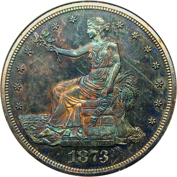 United States 1873 Trade Dollar Silver Coin. Image courtesy David Lawrence Rare Coins