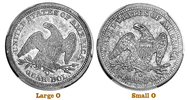 The 1843-O Large O and Small O quarter reverses
