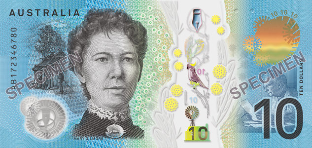 Numeral side, Australian 2017 $10 banknote. Image courtesy Reserve Bank of Australia