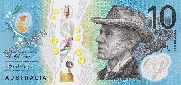 Australian 2017 $10 banknote. Image courtesy Reserve Bank of Australia