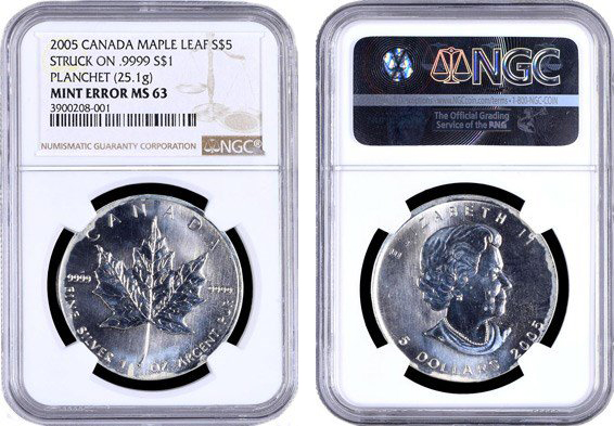 Canada 2005 Silver Maple Leaf $5 on .9999 Silver $1 planchet. Images courtesy NGC