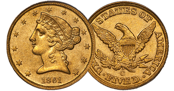 1861-C $5.00 Gold Coin
